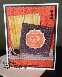 Stampin' Up! Tags 4 You, Thanksgiving, Sweater Weather Designer Series Paper