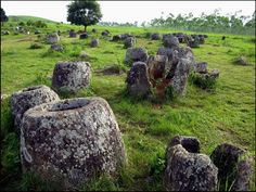 The Plain of Jars is a megalithic archaeological landscape in Laos. Scattered in the landscape of the Xieng Khouang plateau, Xieng Khouang, Laos, are thousands of megalithic jars. These stone jars appear in clusters, ranging from a single or a few to several hundred jars at lower foothills surrounding the central plain and upland valleys.