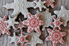 White with red snowflakes