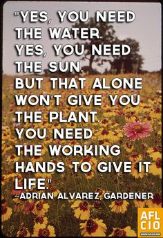 Adrian Alvarez, gardener quote on work. #Labor #1u #p2