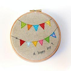 cute cute cute bunting embroidery hoop