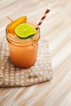 Ginger Peach Margarita made with fresh, ripe peaches (Ingredients: 1/2 ...