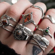 ❧ Come join the dark side ❧ In store now ☞ shopdixi.com ❧ shop dixi // dixi // boho // bohemian // jewelry // jewellery // grunge // goth // hippie // hipster // gothic // badass // opal // storm rider // lone wolf // sterling silver // ring