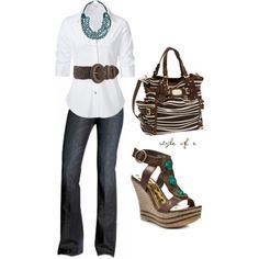 """""""Brown and Teal Casual"""" by styleofe on Polyvore"""