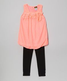 Look at this #zulilyfind! Diva Coral Bubble Tunic & Leggings - Infant, Toddler & Girls by Diva #zulilyfinds