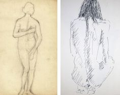 Embarrassed Female Statue, French drawing, c. 1910, eBay  Young Female Nude, Michael Werner, eBay