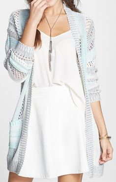 Love This White Dress And Mint, Grey And White Cardigan....