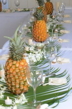 Whether you line pineapples down a table or place them sporadically