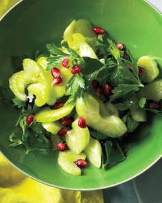 (Omit oil and optional pomegranate) Celery and Parsley Salad: This crunchy salad is all about the crisp celery.