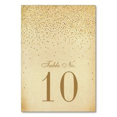 The Vintage Glam Gold Confetti Wedding Collection Table Cards