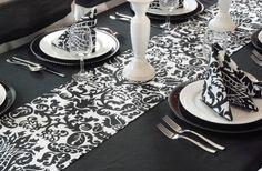Wedding Black and White Damask Table Runner Linens FREE SHIP on Etsy, $16.00
