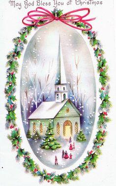 Vintage Christmas Card - May God bless you at Christmas