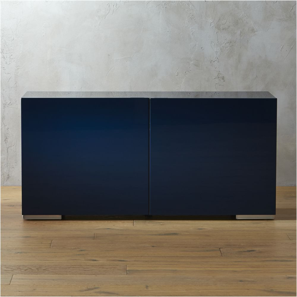 fuel navy credenza cb2 499 or you can diy an ikea piece with amy howard lacquer spray paint. Black Bedroom Furniture Sets. Home Design Ideas