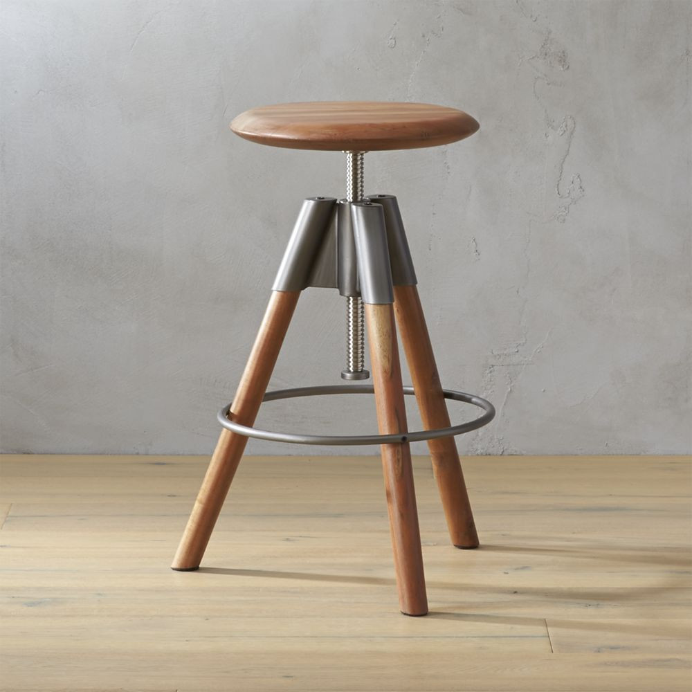 Shop Revolution Adjustable Bar Stool Handcrafted Round Of Sustainable Acacia Wood Twists Up Down Seven Inches To Park Bar Stools Adjustable Bar Stools Stool