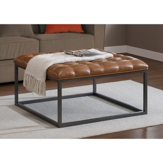 Healy Saddle Brown Leather Tufted Ottoman Leather Ottoman Coffee