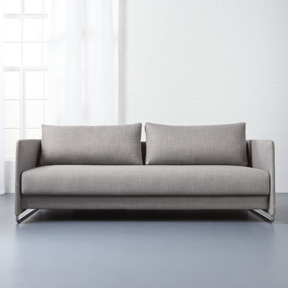 cb2 tandom grey sleeper $1400 / seat cushion pulls out (legs flip out) and  back slides flat, no need to pull out from wall; sofa: 78