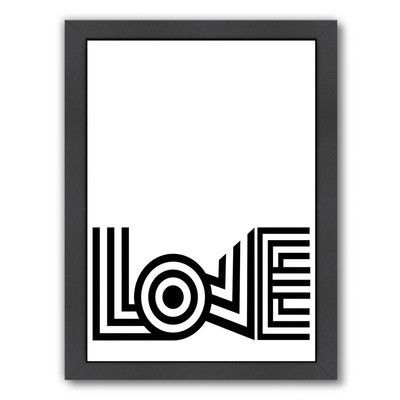 Americanflat Dash of Summer Love Striped Framed Textual Art Size: