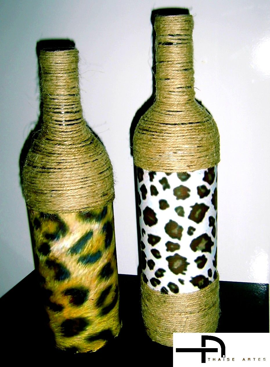 Thaise Artes Garrafas Decoradas Arte Com Sisal Ou Cordas