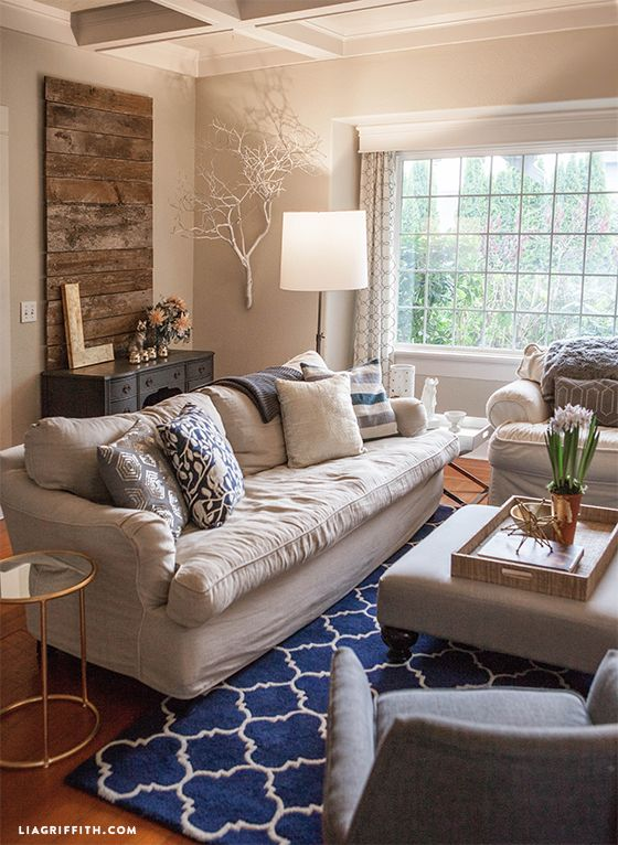 My Home Tour: My Living Room in Navy and Gold | Fall living room ...