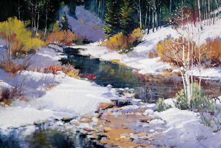 Winter Creek Colorful Landscape Landscape Paintings Winter Landscape
