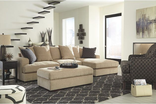 neutral ultra soft textured chaise lounge sofa and ottoman with ...