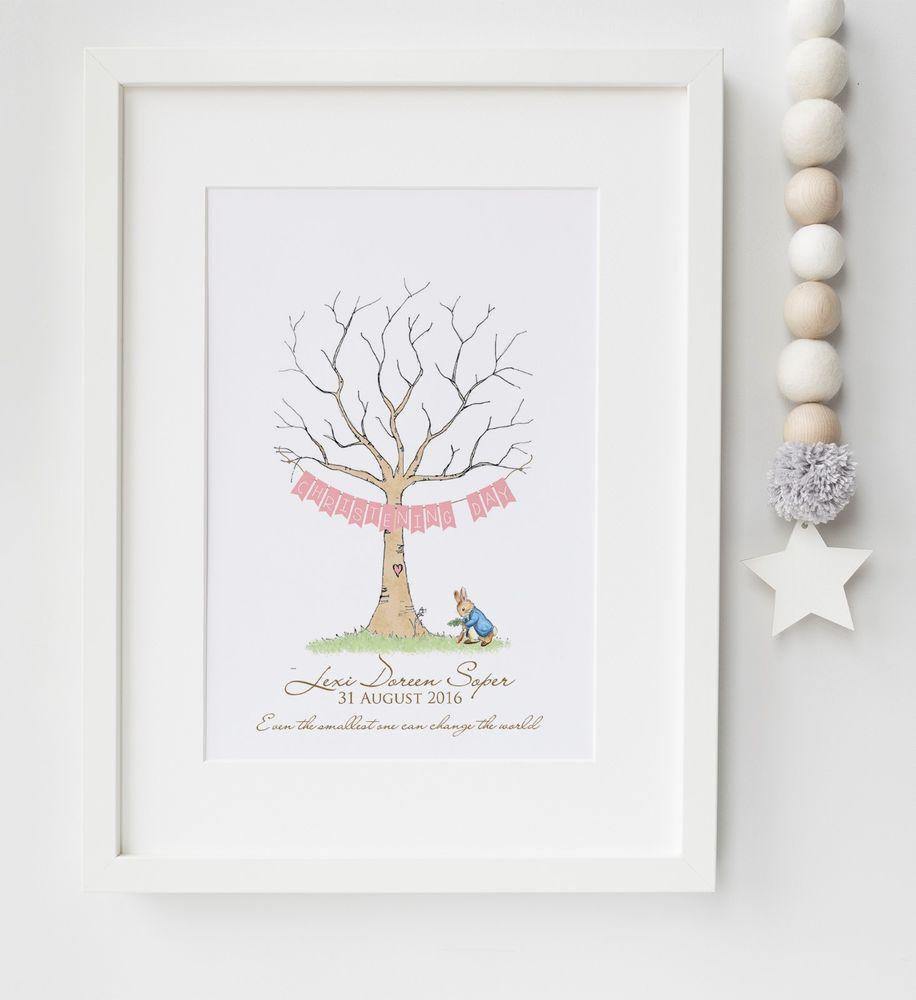 Peter Rabbit Fingerprint Tree Baby Shower, Christening, etc Print UNFRAMED…