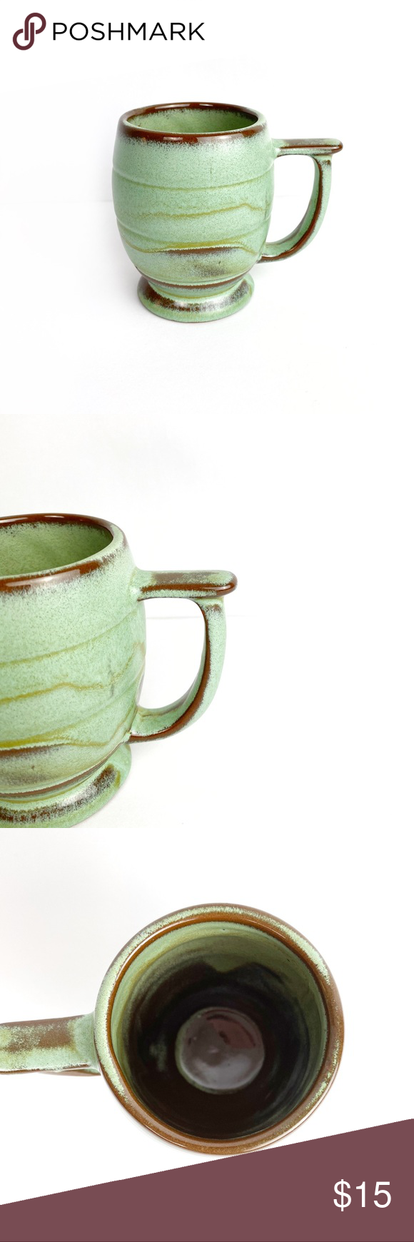 Frankoma Pottery Handled Praire Green Mug C7 This mug is a part of the Frankoma pottery collection in praire green.   Good pre owned condition. Smoke free home. There are some flaws on one side of the mug - appear to be manufacturing flaws. See last image.   See image for measurement.   0526 Frankoma Kitchen Coffee & Tea Accessories