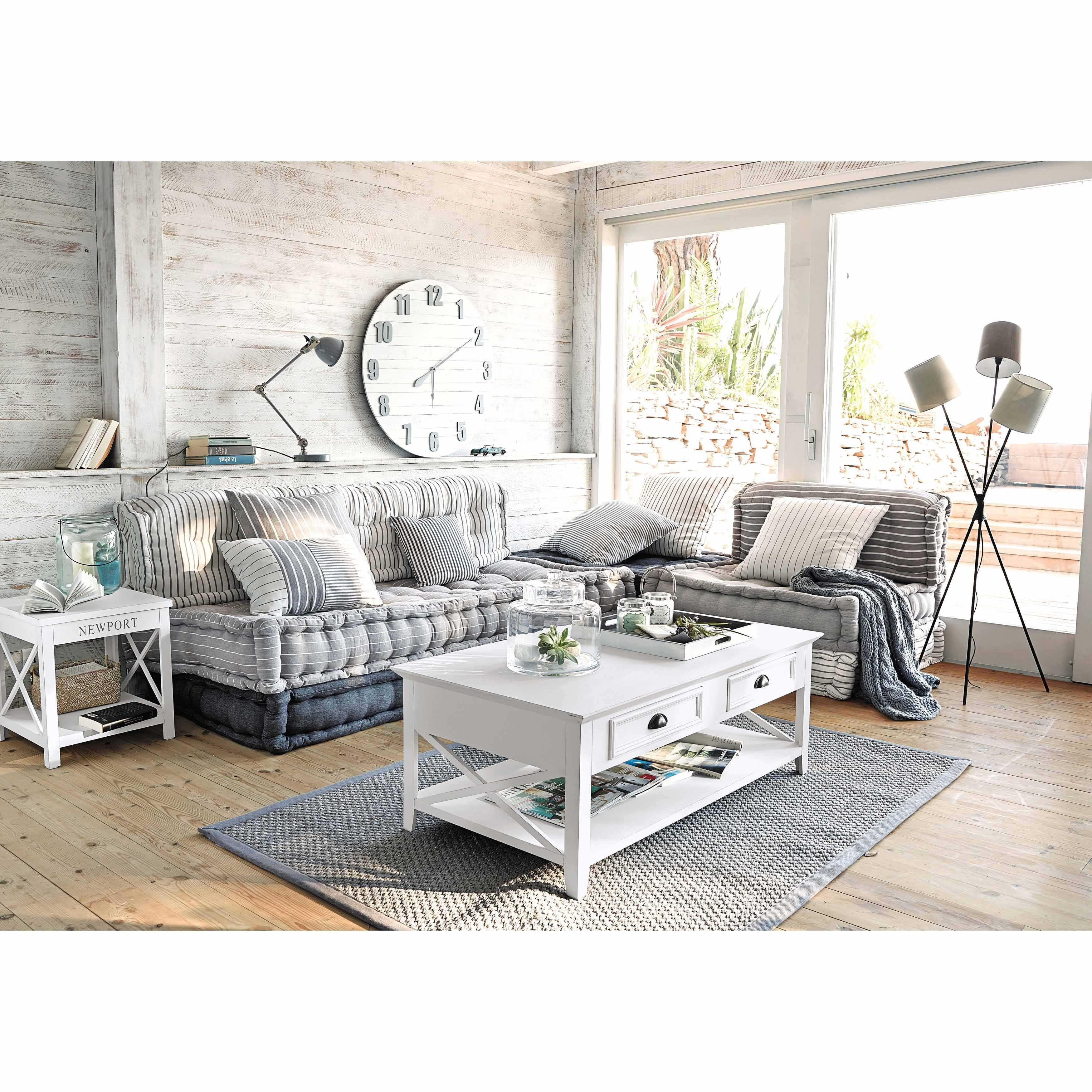 banquette dangle modulable 6 places en coton grise et blanche honfleur maisons du monde