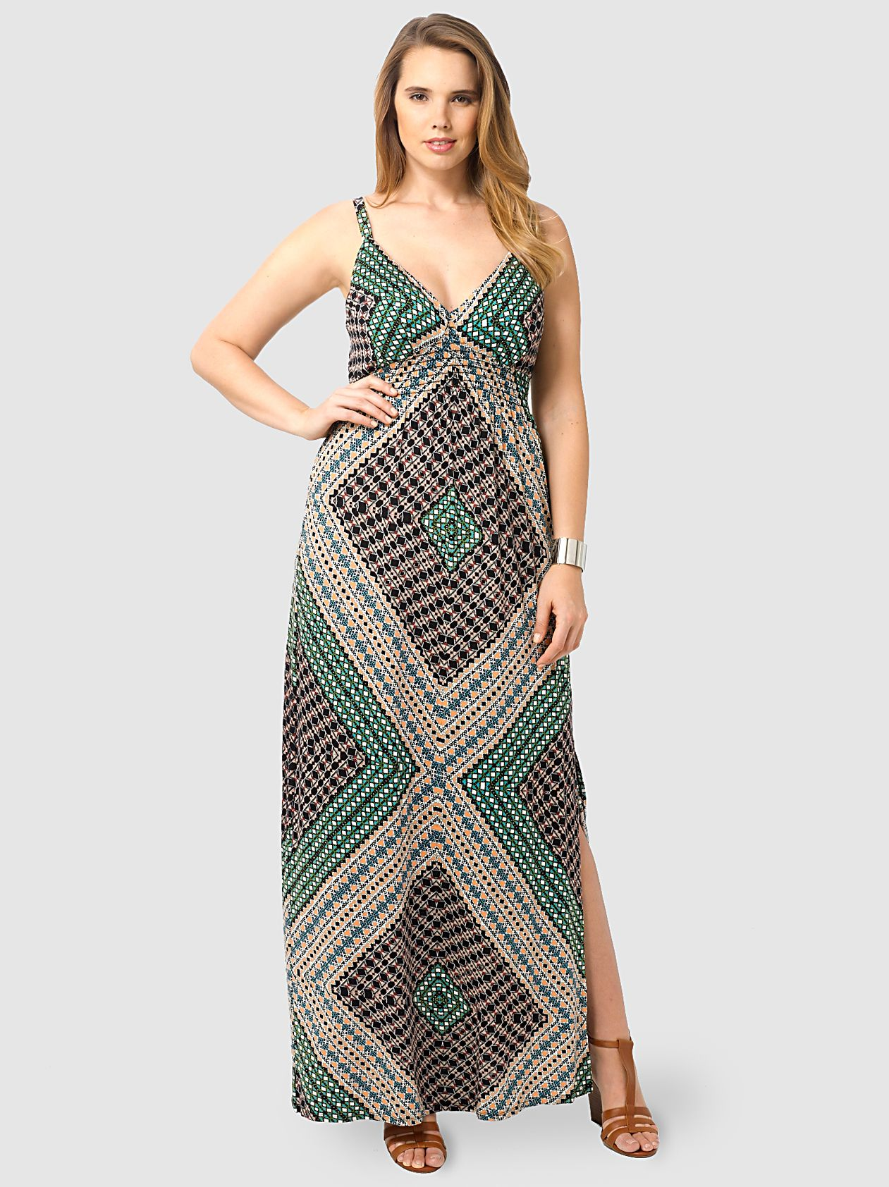 Crepe Maxi Dress In Nomad's Land by Eight Sixty,Available in sizes 1X-3X