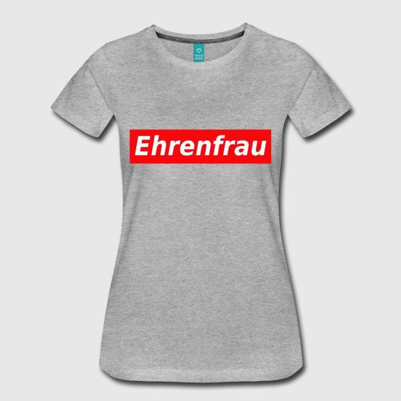 ehrenfrau roter Balken Schriftzug Frauen Premium T-Shirt - Schwarz ...