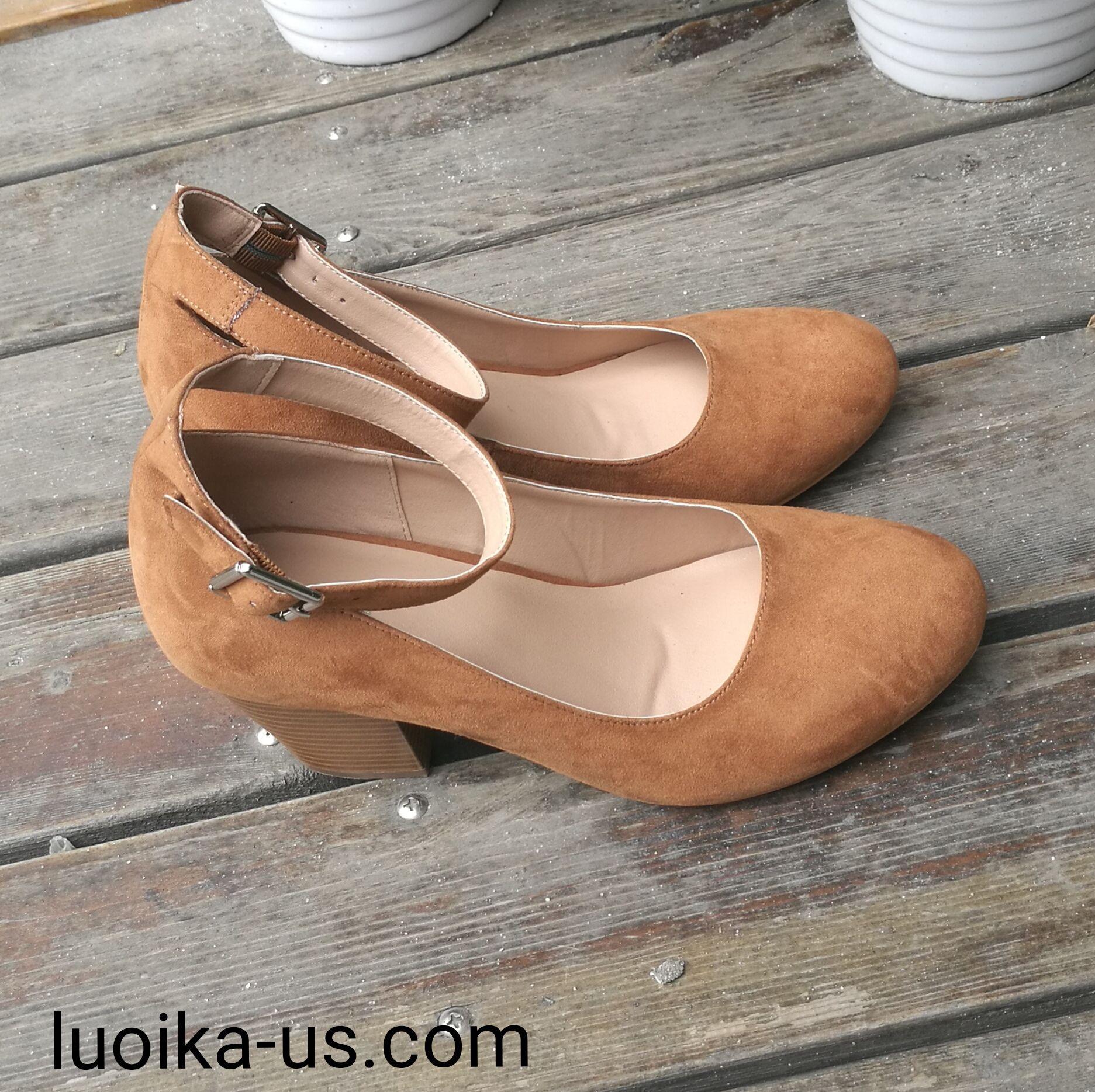 472dc52f5f737 Luoika Women's Wide Width Heel Pump - Ankle Buckle Strap Round ...
