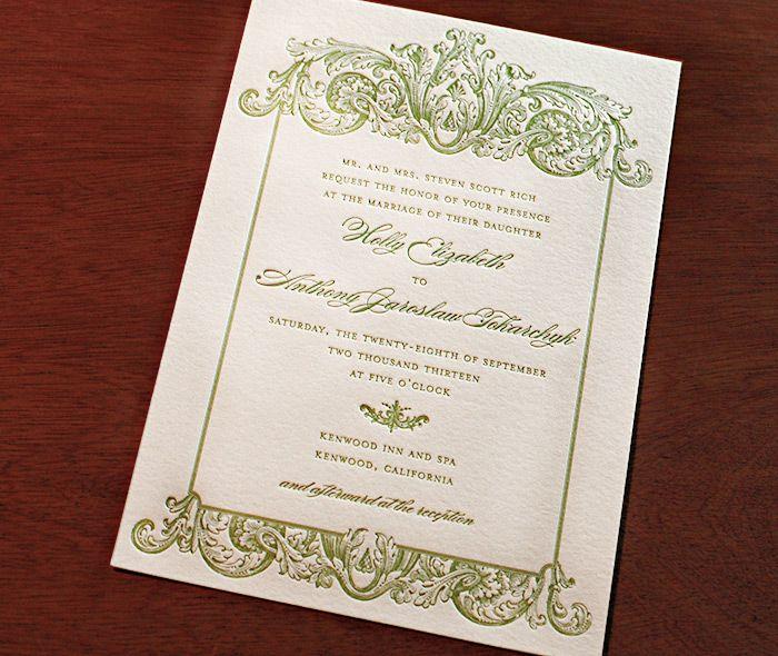 victorian style letterpress wedding invitation design keri in