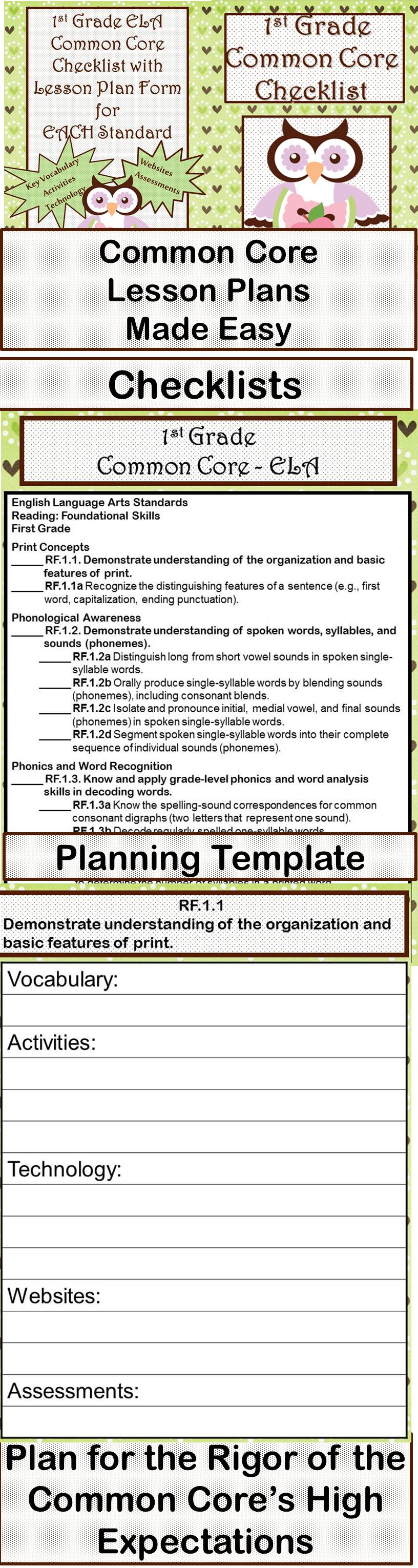 St Grade Ela Common Core Checklist  Lesson Planning Form  Owl