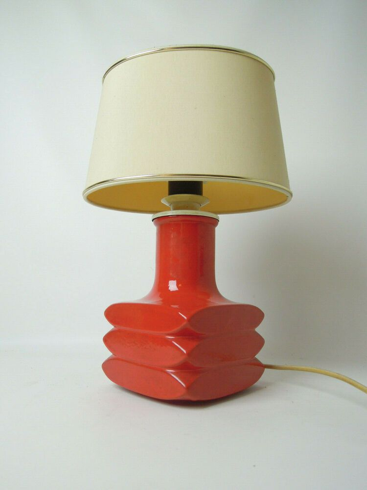 Vintage Steuler Table Lamp Cari Zalloni Facette Mid Century Modern Retro 60s 70s In 2020 Retro Table Lamps Bedside Lamps Shades Ceramic Lamp Base #orange #table #lamps #for #living #room