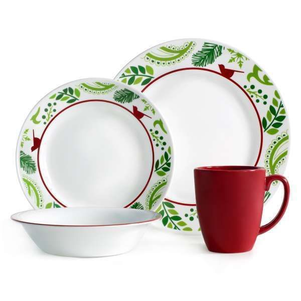 Corelle Christmas Dinnerware Set 16 Piece Service For 4 Holiday