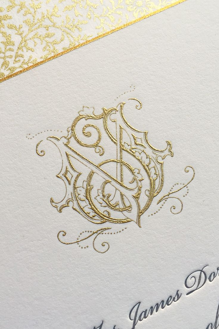 Its the first monogrammonday of 2016 matt and jadons new years matt and jadons new years eve wedding looked like the party of the year their invitation featured a custom hand drawn monogram gold engraving stopboris Image collections