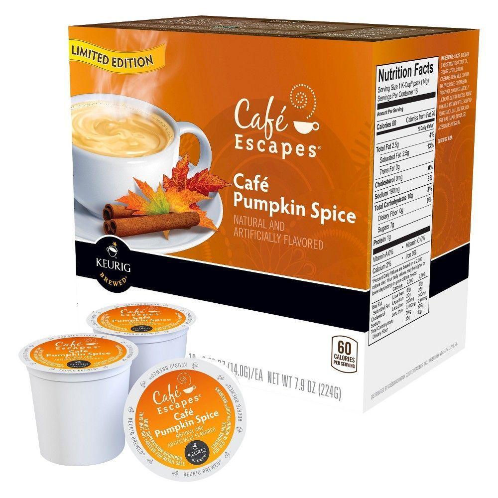 Keurig Cafe Escapes Cafe Pumpkin Spice Latte K Cup Pods 16ct