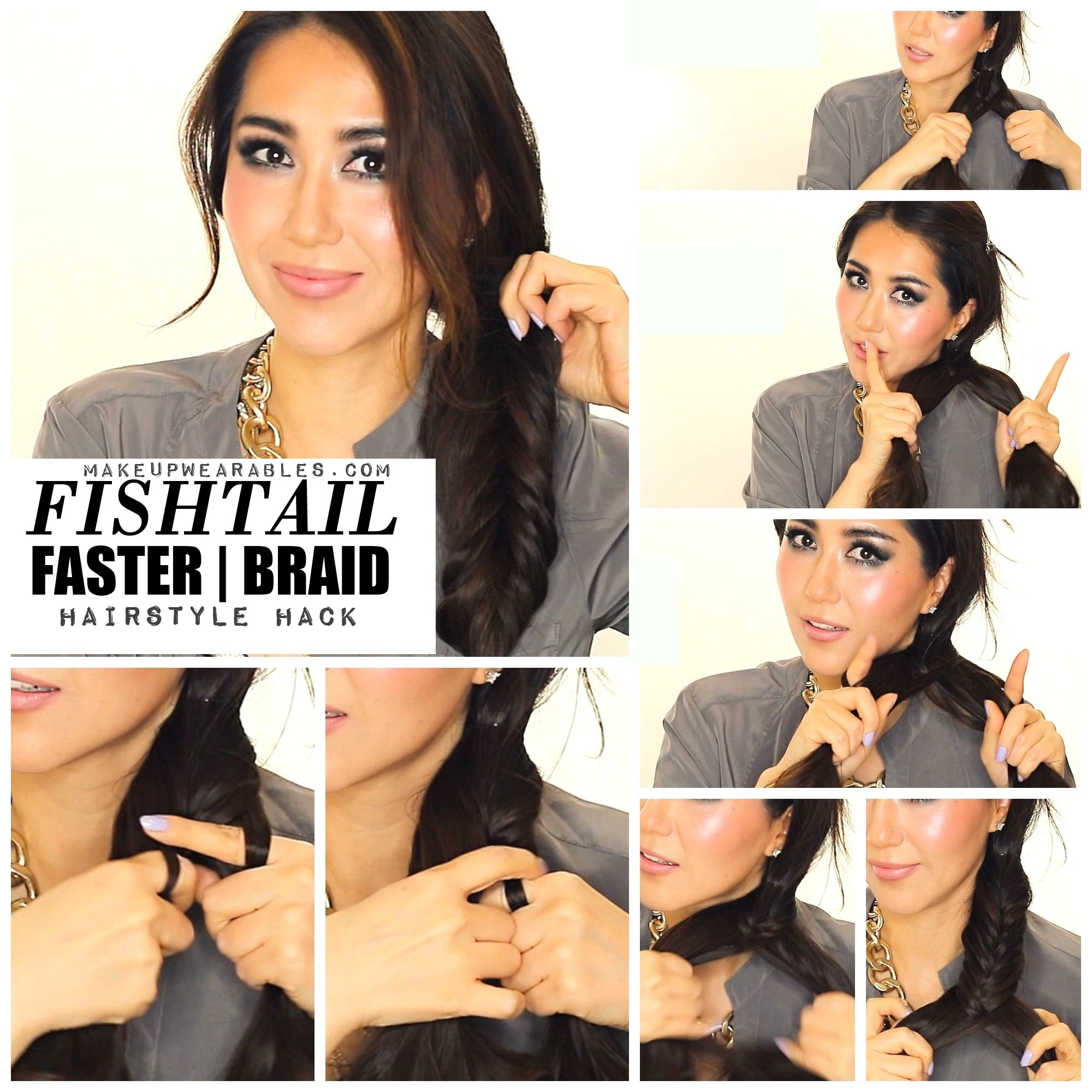 how to fishtail braid your own hair tutorial video hairstyles ...