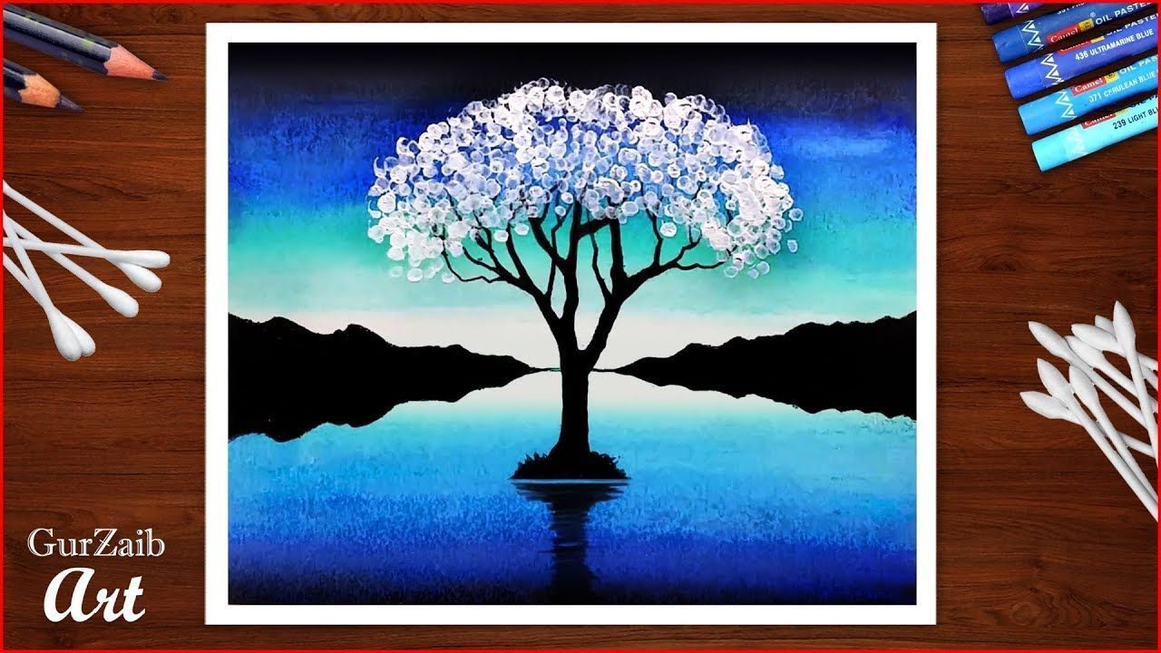 Cotton Bud Trick With Oil Pastel For Beginner Tree Drawing With Blue L Tree Drawing Oil Pastel Oil Pastel Drawings