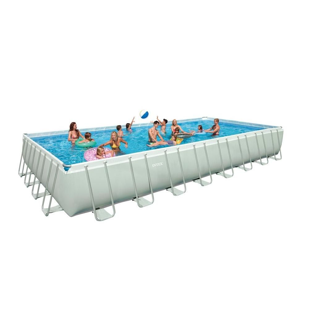 Intex 32 ft. x 16 ft. x 52 in. Rectangular Ultra Frame Pool Set ...
