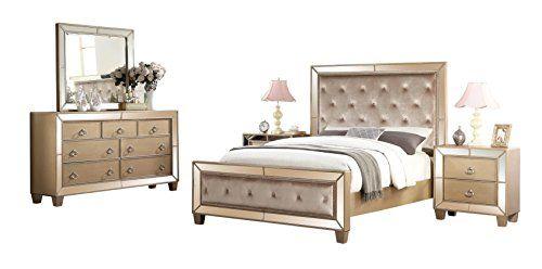 Abbyson Living 5 Piece Nina Mirrored Tufted Bedroom Set