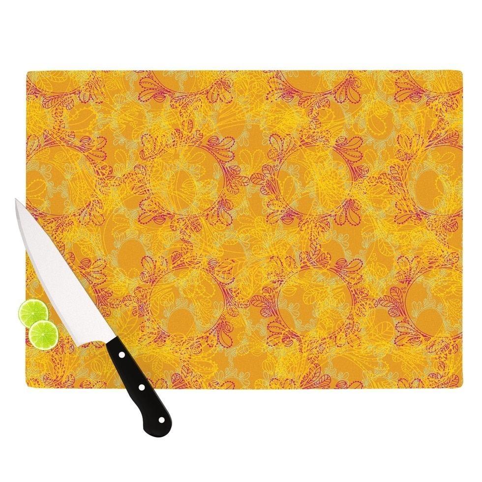 Kess InHouse Patternmuse 'Jaipur Saffron' Yellow Orange Cutting Board