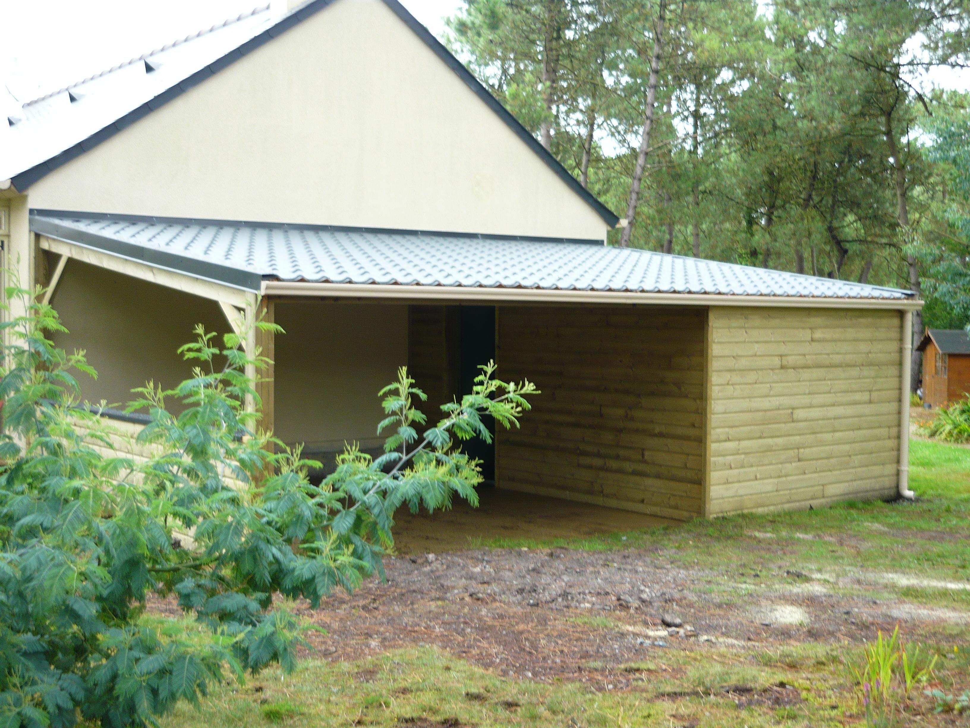 Carport et Abri de jardin bois naturel toiture monopente accolé au ...