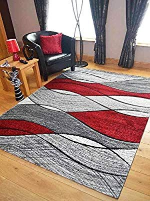 Impulse Red Grey Wave Thick Quality Modern Carved Rugs ...