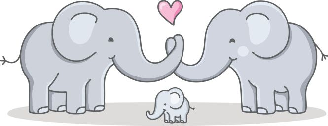 vector drawing of a elephant family with baby elephant