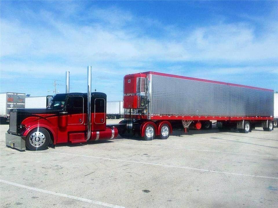 Burgundy And Black Peterbilt W Reefer Trucks Peterbilt Trucks
