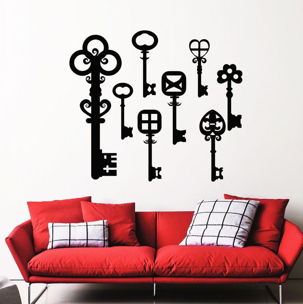 Wall Decals Key Skeleton Vintage Shapes Living Room Vinyl Sticker ...