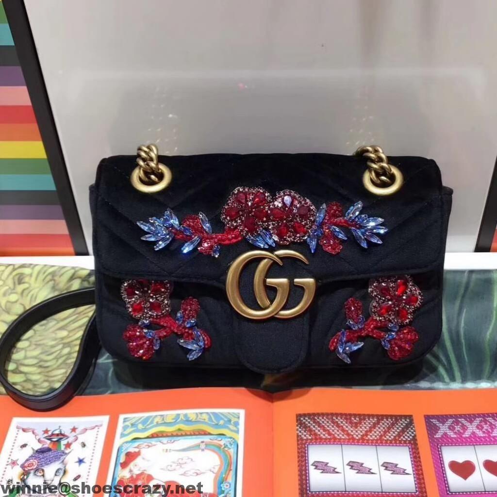 55f065a24b3844 winnie@fabebay.com>Gucci GG Marmont Embroidered Velvet Mini Bag 446744 2017