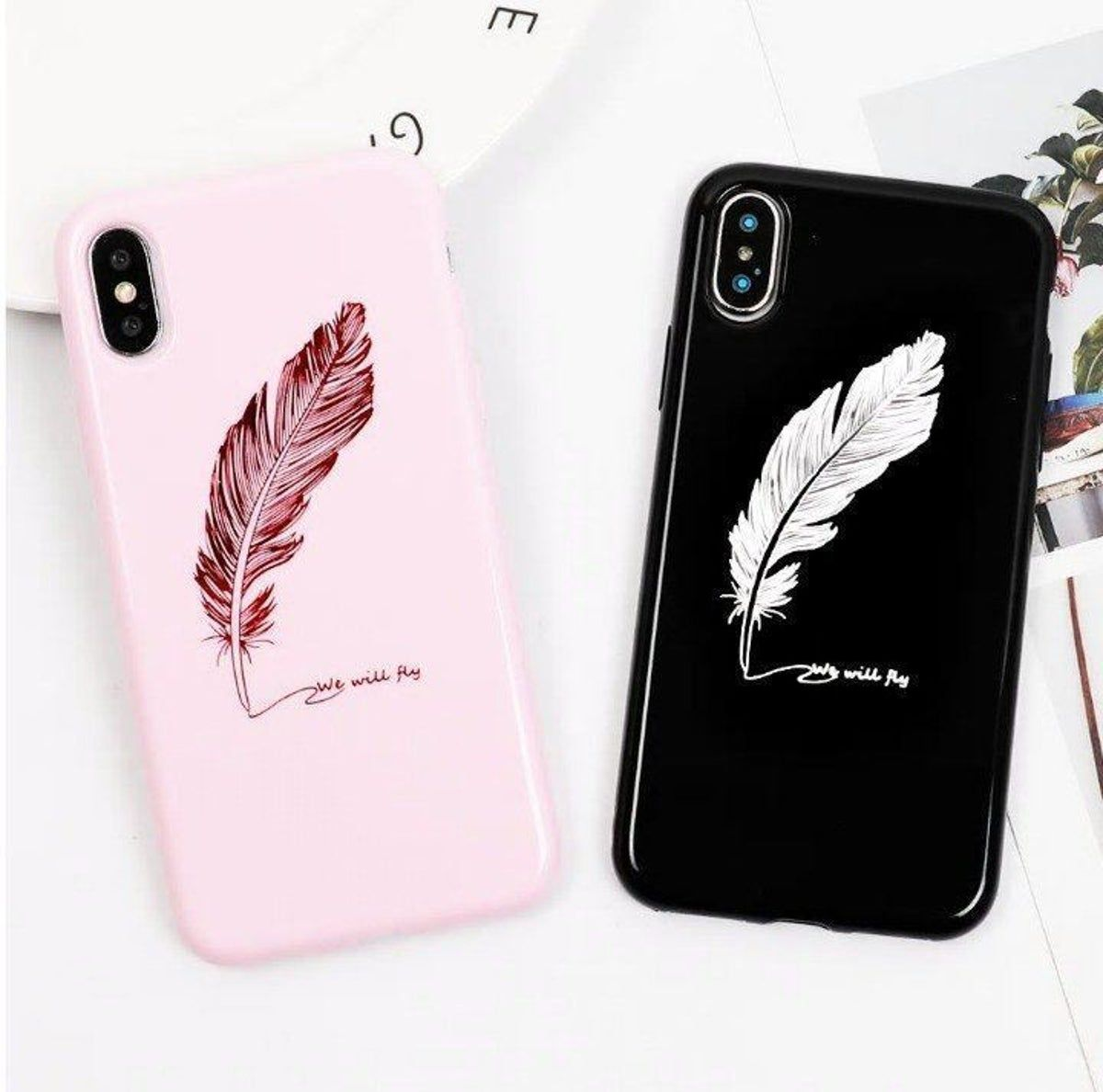 Iphone 7 8 Case Cute Feather New Bff Phone Cases Friends Phone Case Iphone Phone Cases