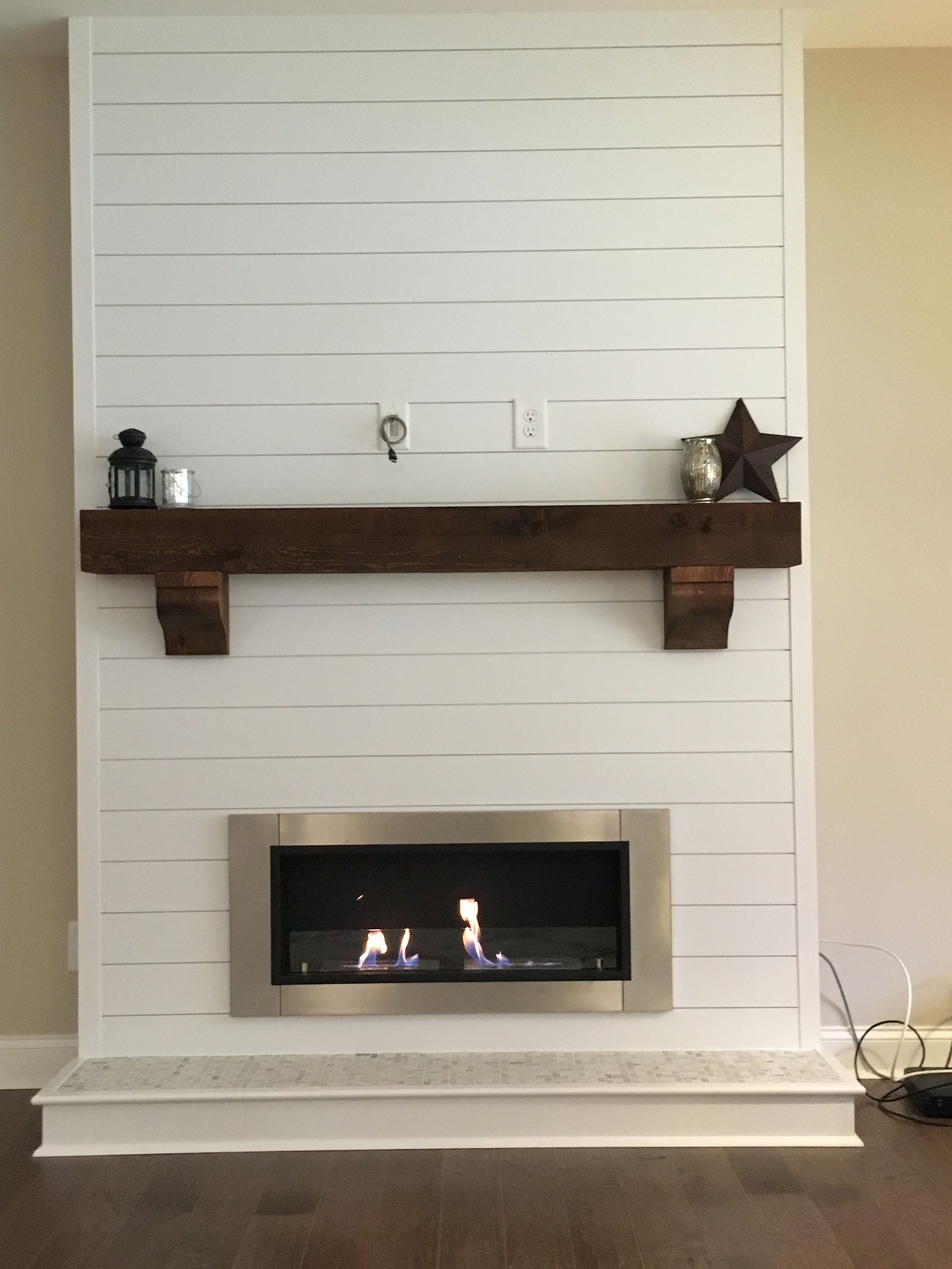 Shiplap Bioethanol Fireplace with rustic beam mantle  decorating in 2019  Farmhouse fireplace